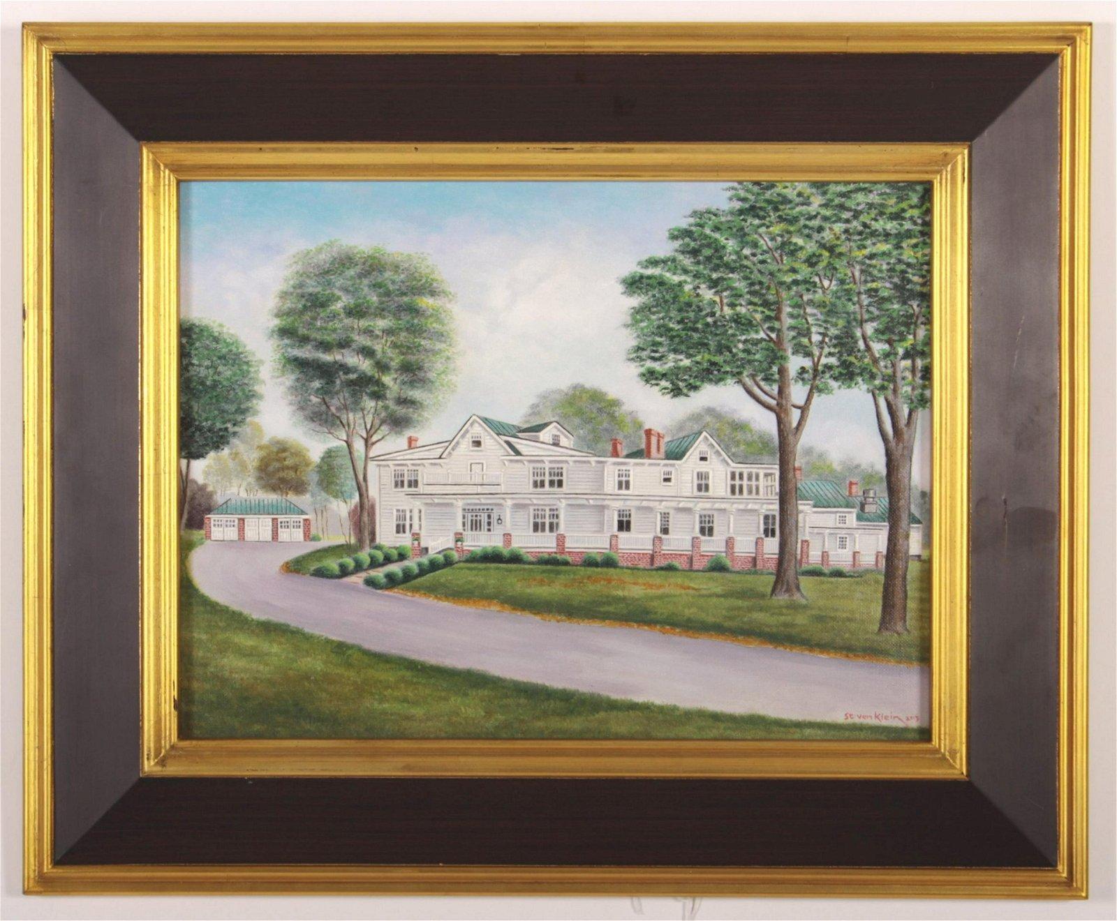 Steven Klein 20th c. A White House, Acrylic/Canvas