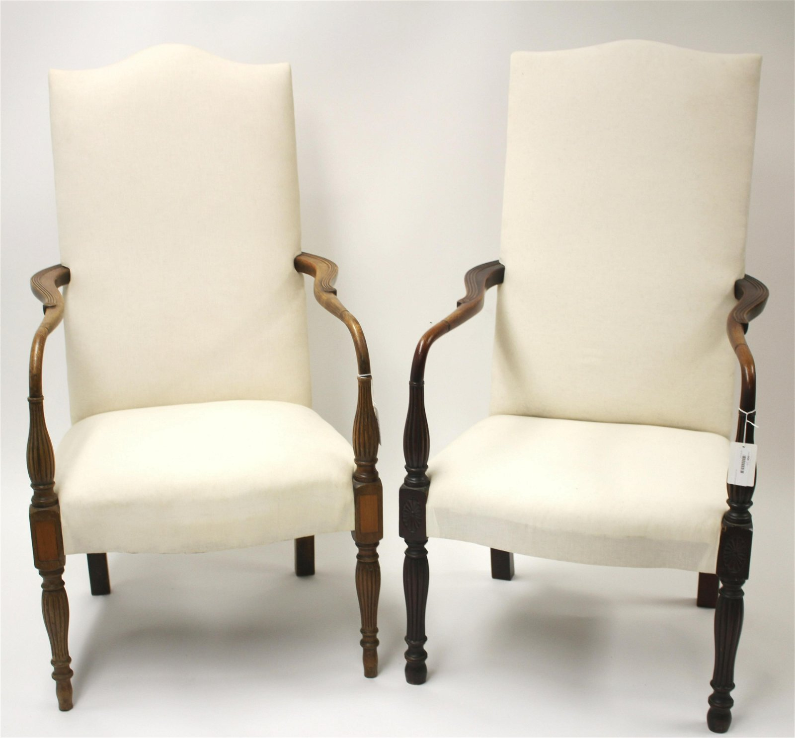 Pair Federal Style Inlaid Mahogany Lolling Chairs