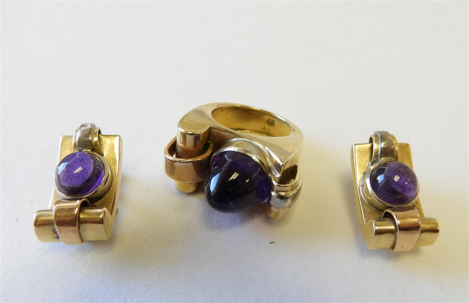 Brutalist Amethyst Jewelry Suite