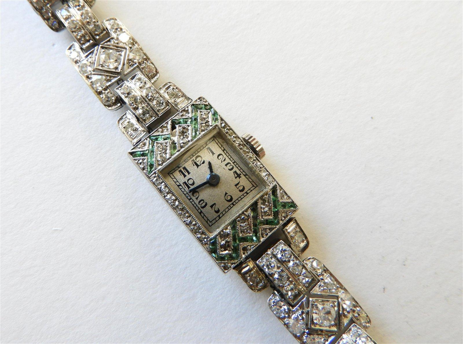 Lady's Art Deco Diamond & Emerald Wristwatch