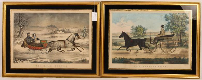 Nathaniel Currier, 19th C. Handcolored Lithos