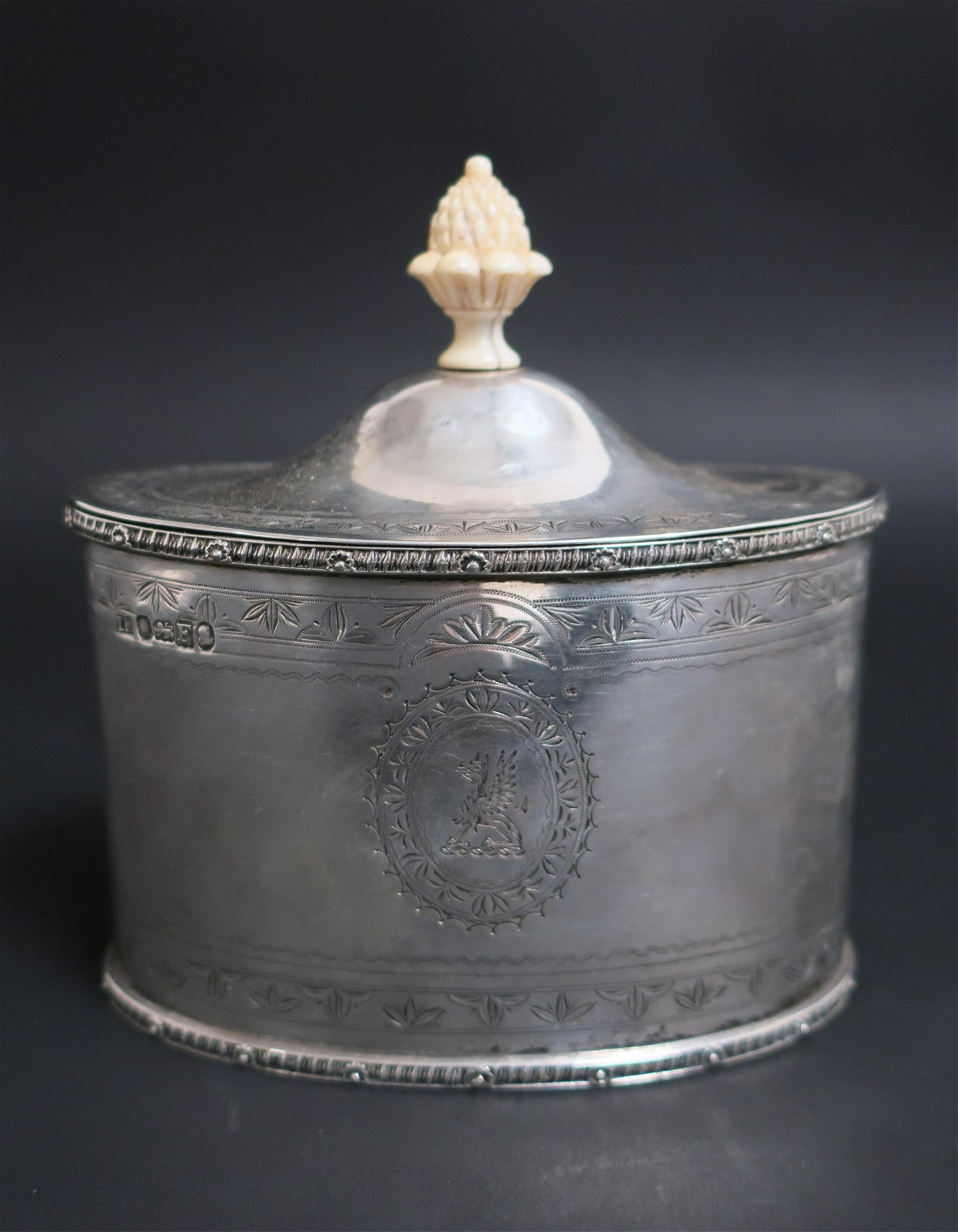 English Sterling Silver Oval Tea Caddy, c.1801-1802