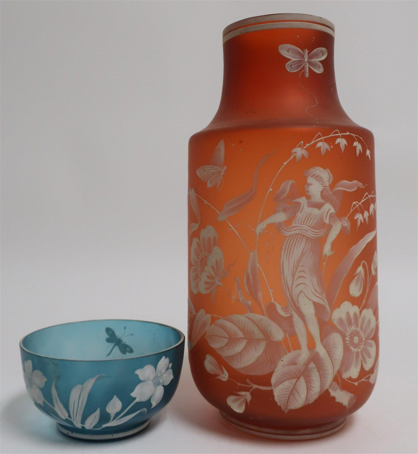 2 Art Glass Cameo Glass Vases