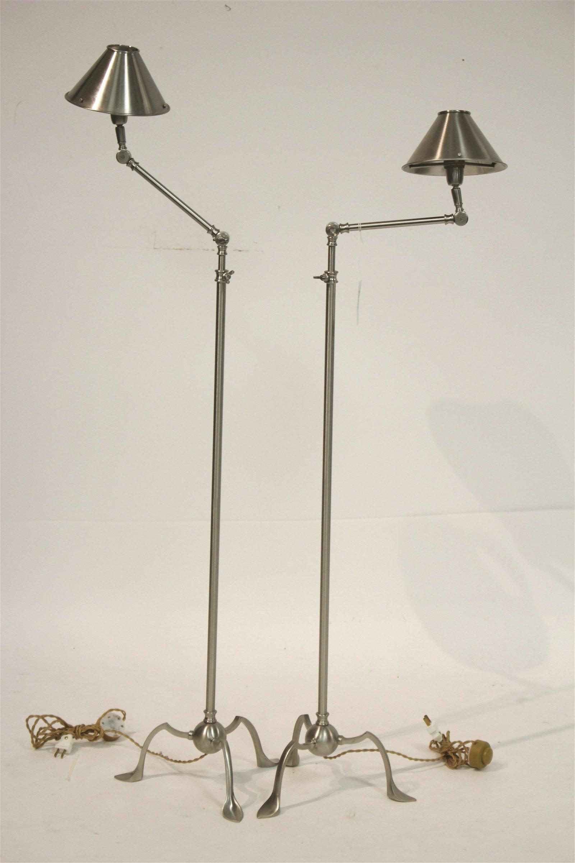 Pr Contemporary Nickel Articulated Floor Lamps