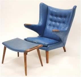 Hans J. Wegner Papa Bear Chair & Ottoman, c.1959