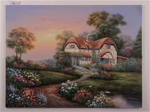 Marten 20th C Cottswald Cottage OC Signed