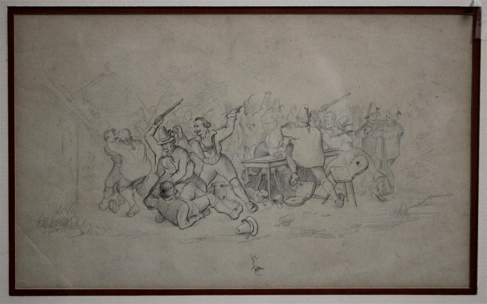 Open Air Fight/Brawl Scene Pencil on Paper