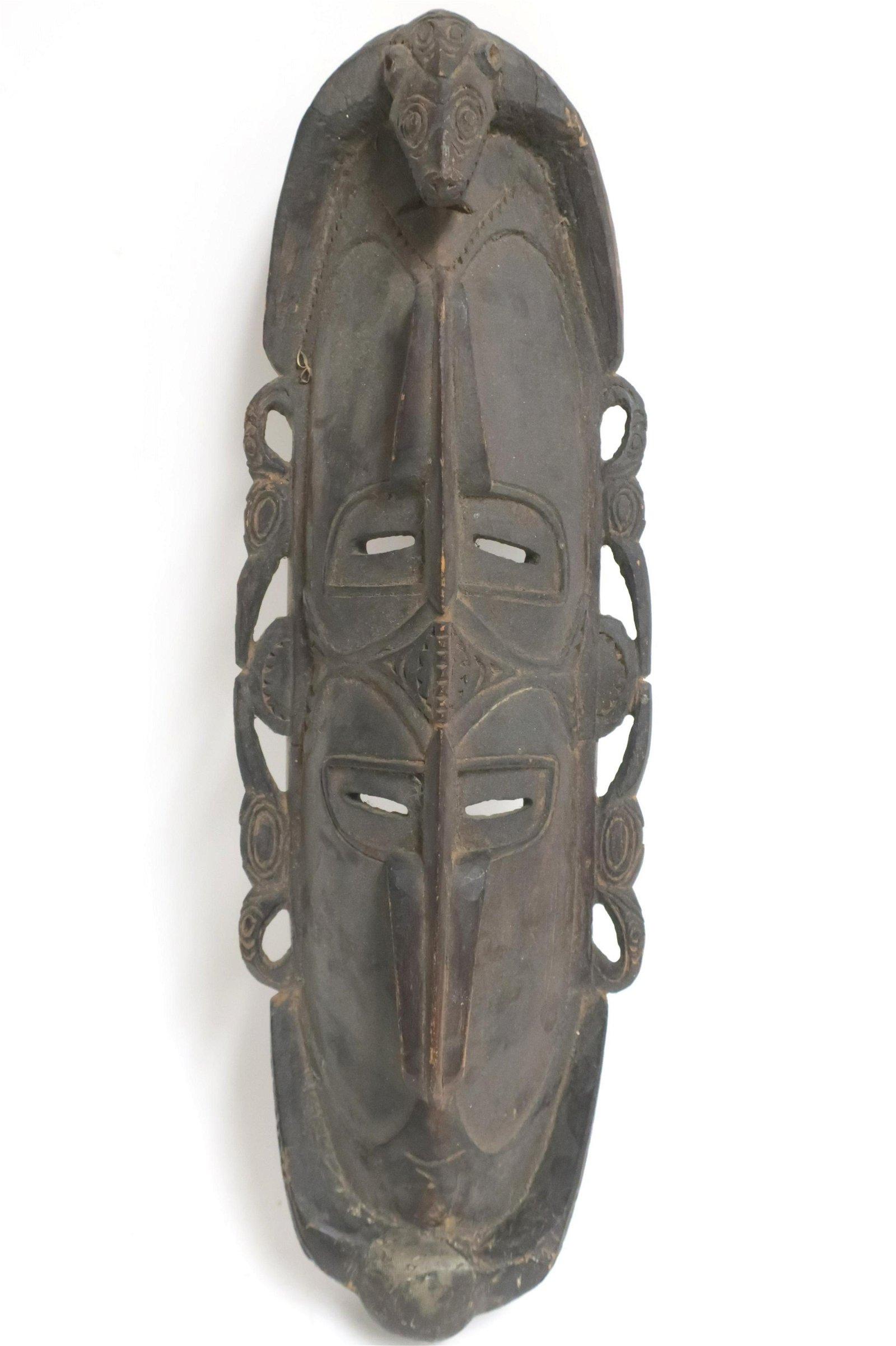 PNG Sepik River Wood Mask, Early 20th C.