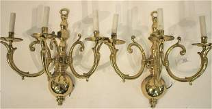 Pr 3 Light Brass Queen Anne Style Wall Sconces