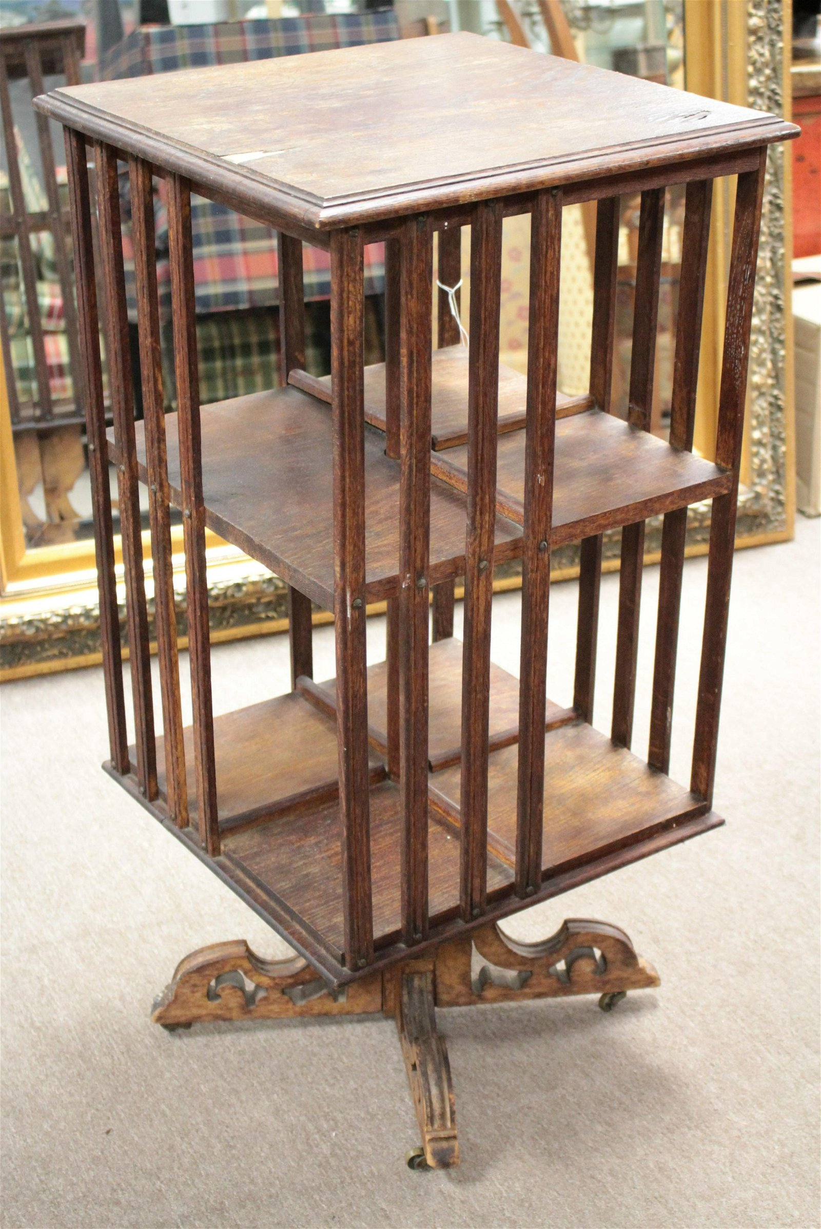Victorian Oak 3-Tier Revolving Book Table
