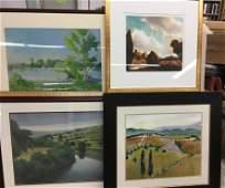 4 Large Framed Decorative Landscape Prints