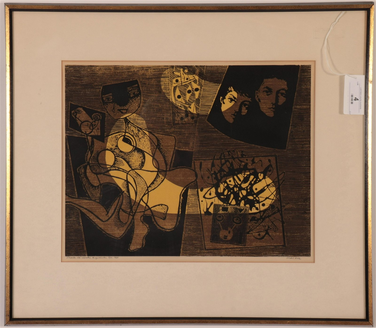 Endel Koks (1912-1983) Black & Yellow Silkscreen