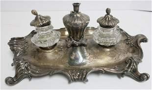 Louis XV Style Silver Plate Encrier