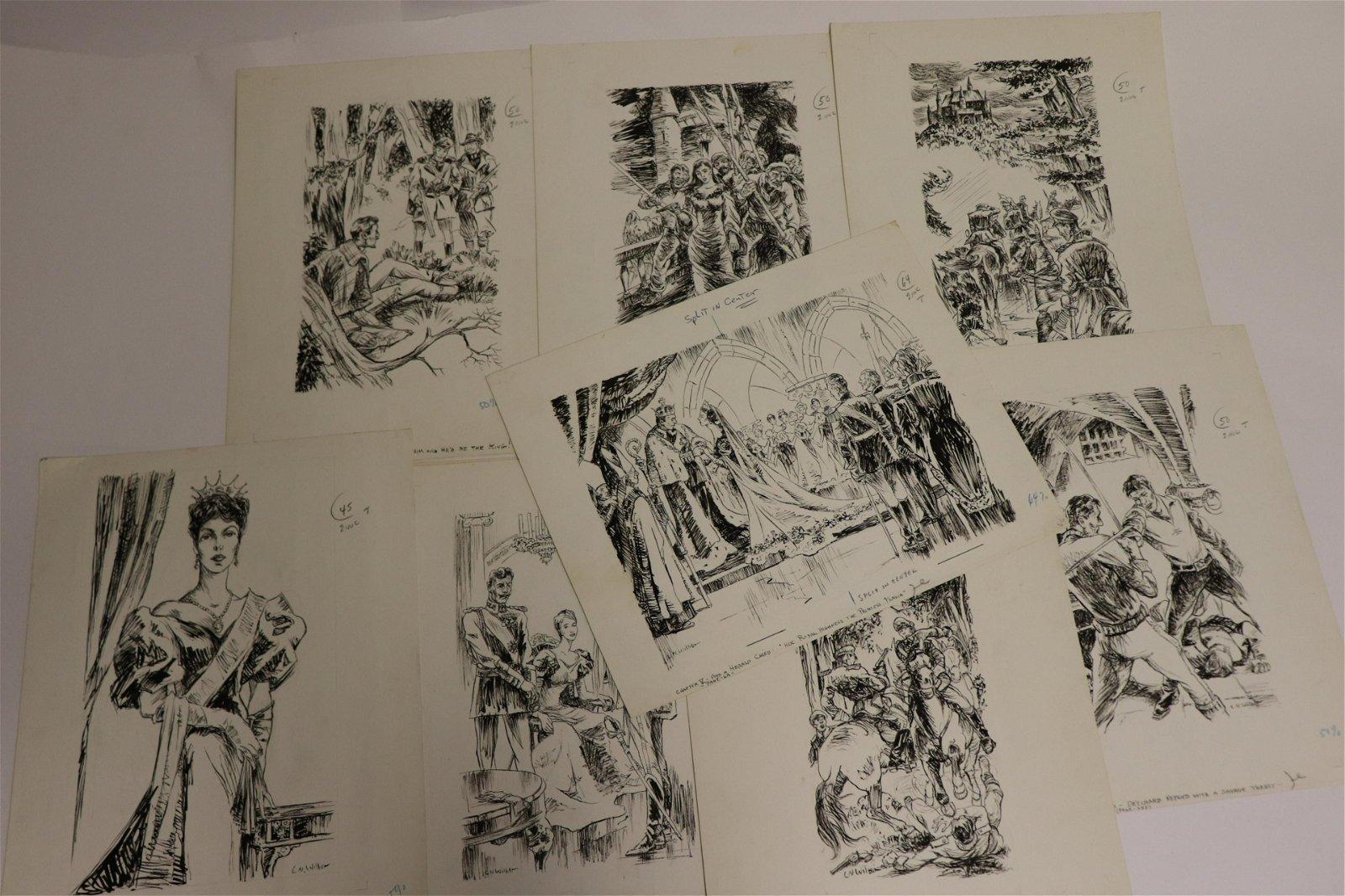 Lawrence Wilbur, 9 ink drawings, illustrations