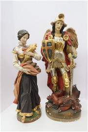 2 European Carved & Polychromed Figures