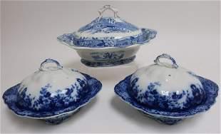 3 Antique Blue & White Covered Casseroles