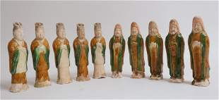 Group of Ten Tang Glazed Tomb Attendents