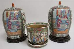 Pair Chinese Rose Medallion Jars & Jardiniere