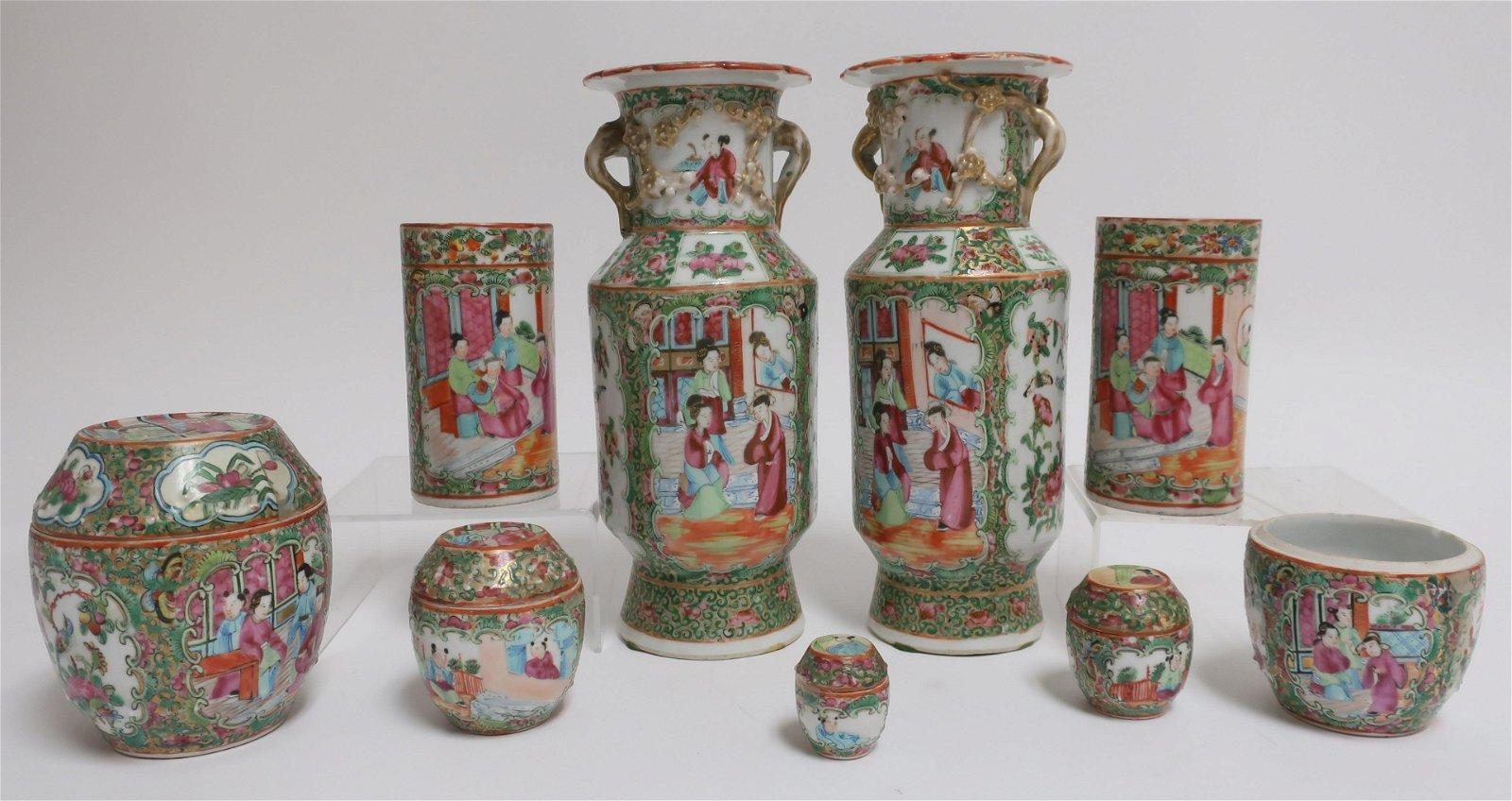 Group Rose Medallion Vases & Jars