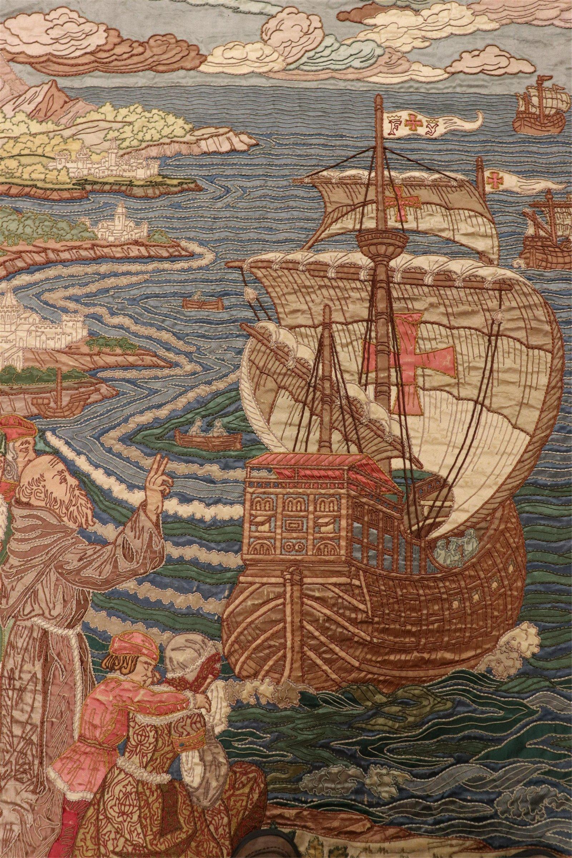 Pair Spanish Silk & Velvet Tapestries, Columbus