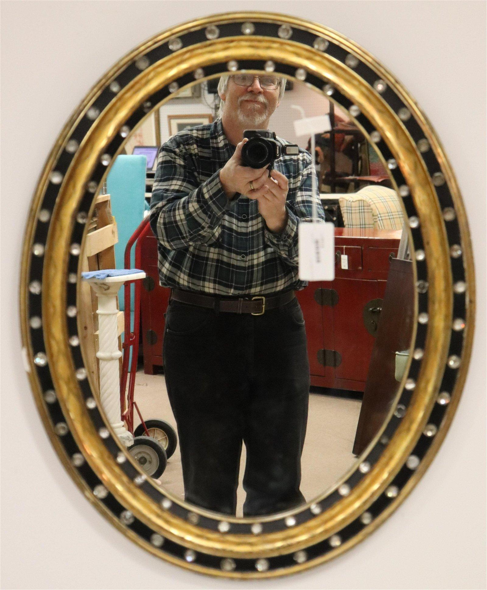 Irish Regency Parcel Gilt Ebonized Mirror