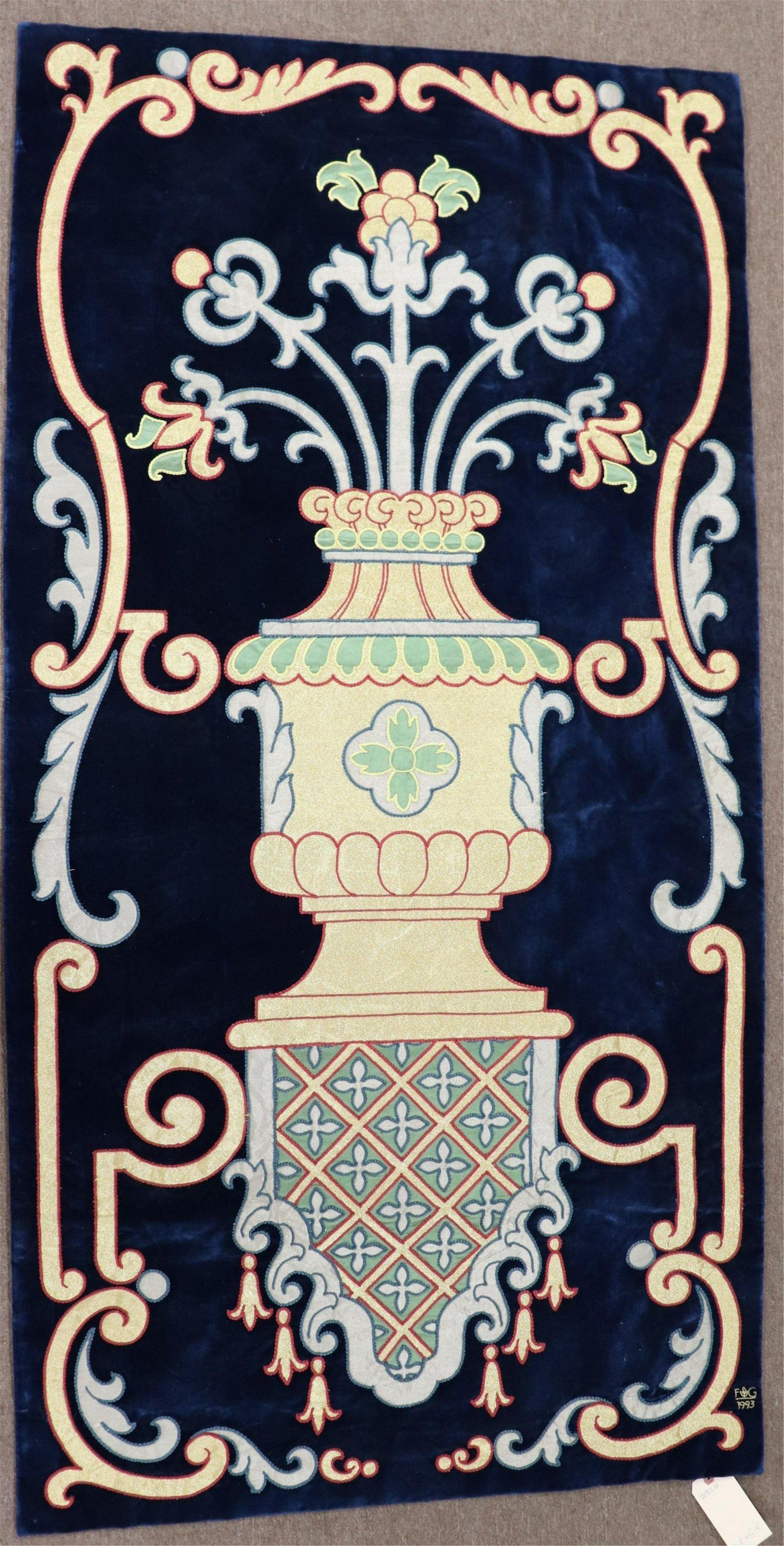 Spanish Silk Velvet Tapestry, urn design