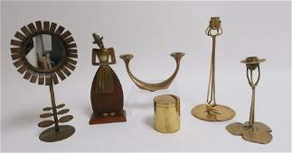 Group of 6 Brass Bronze  Metal Items