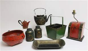 7 Tole Peinte Pieces 19th C and later