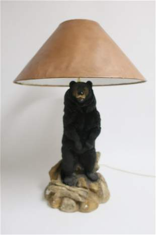 Standing Painted Ceramic Bear as Table Lamp