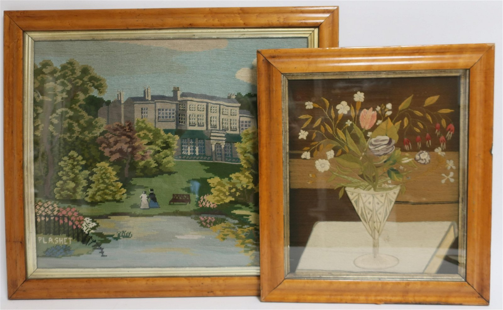 2 Hand Woven Pictures, late 19th/early 20th C.