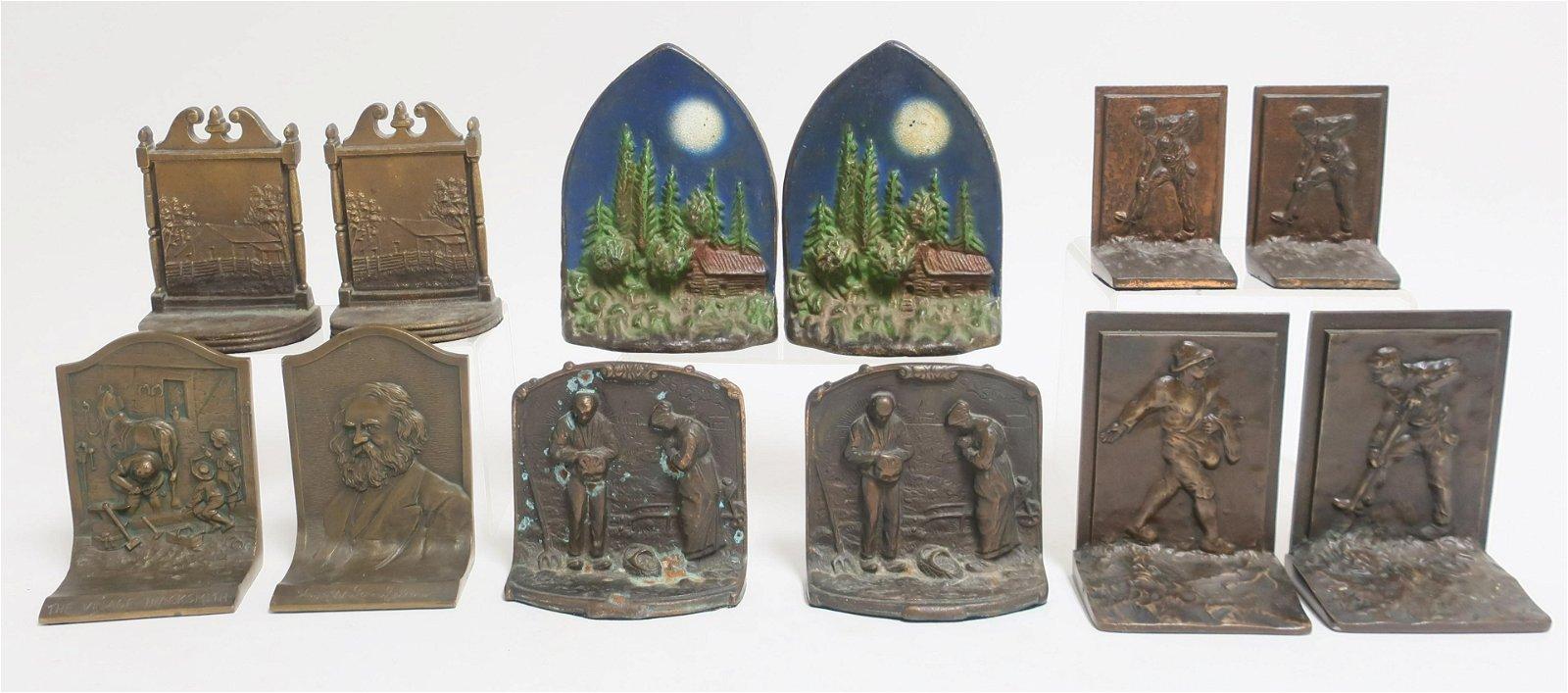 6 Pr. Bookends: Cabin Scene, Planters, Blacksmith