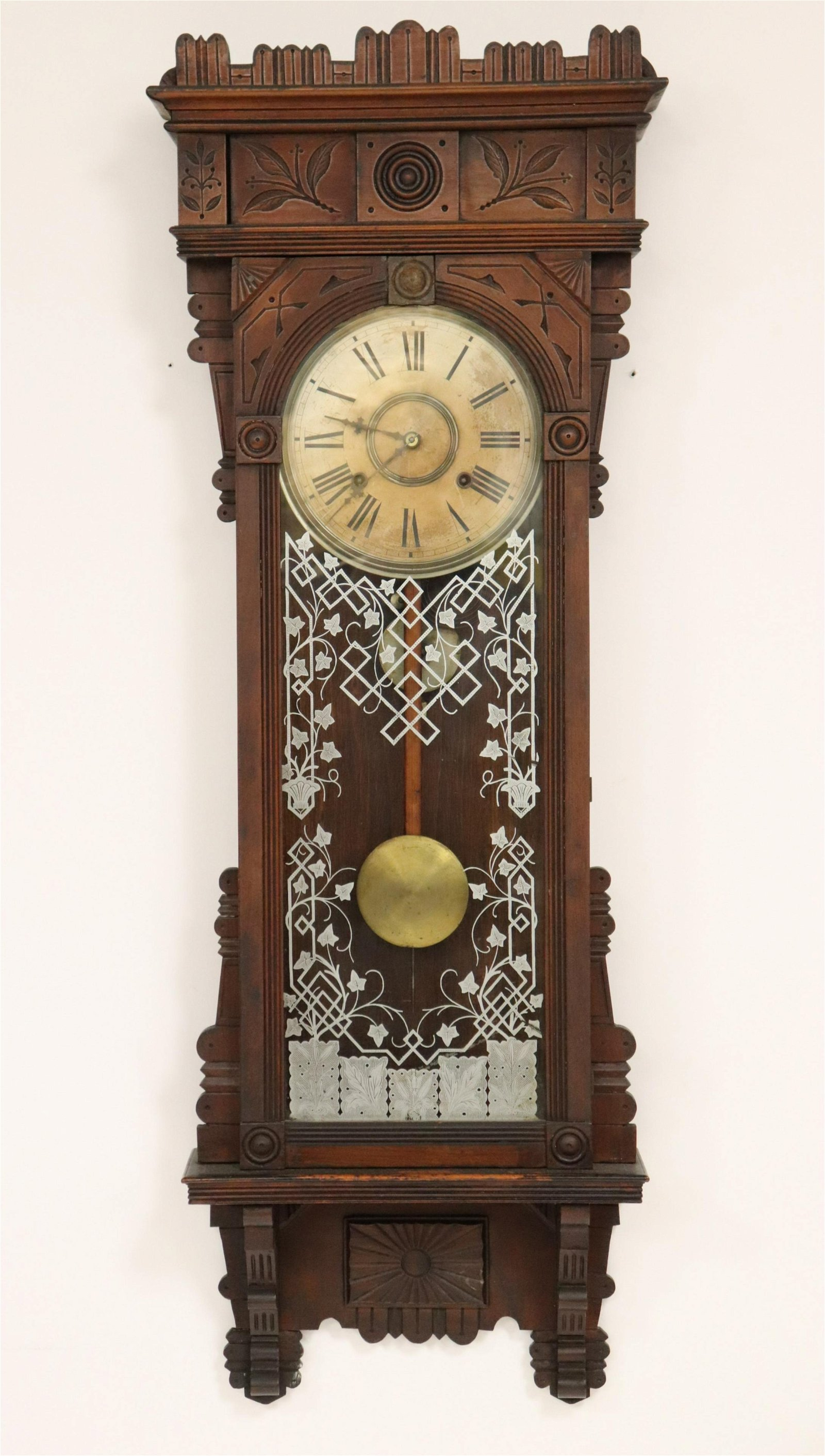 Sailsbury Walnut Wall Clock, 19th C.