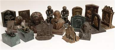 Literary  Figural Bronze CastPatinated Bookends