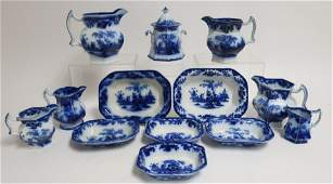13 Flow Blue Scinde Transferware Vessels 19th C