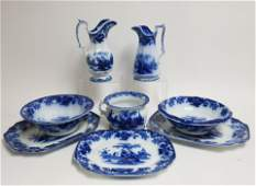 8 Flow Blue Scinde Transferware Items 19th C