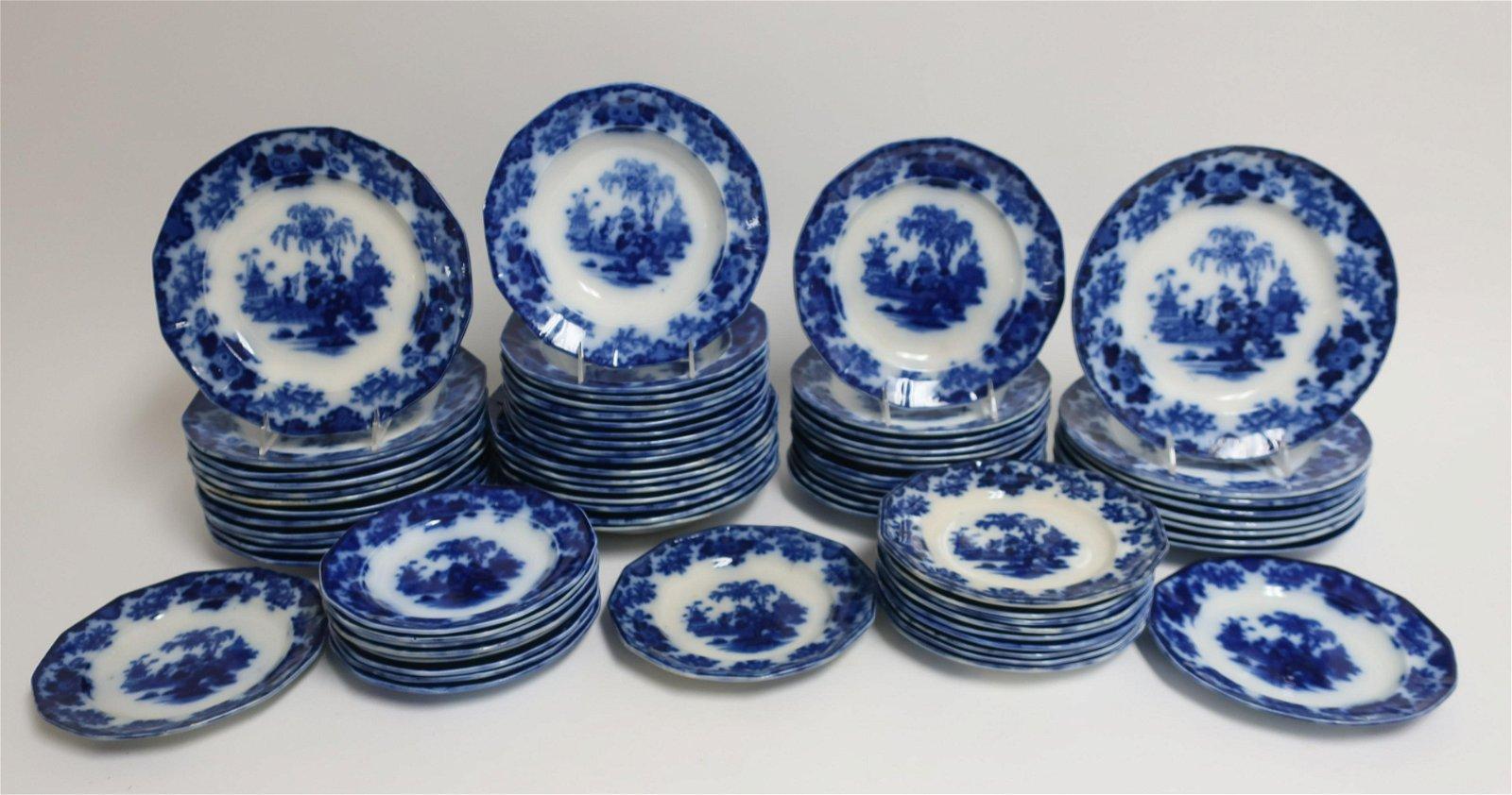 69 Flow Blue 'Scinde' Transferware Plates, 19th C.