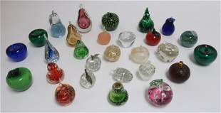 Glass Paperweights Apples Pears Strawberries