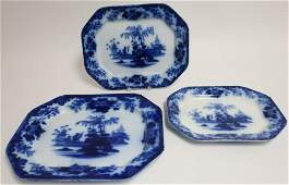 3 Flow Blue Scinde Transferware Platters 19th C