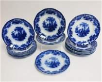 17 Flow Blue 'Scinde' Transferware Plates, 19th C.
