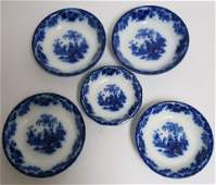 5 Flow Blue Scinde Transferware Bowls 19th C