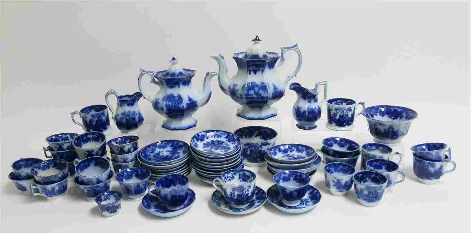 Flow Blue 'Scinde' Transferware Teawares, 19th C.