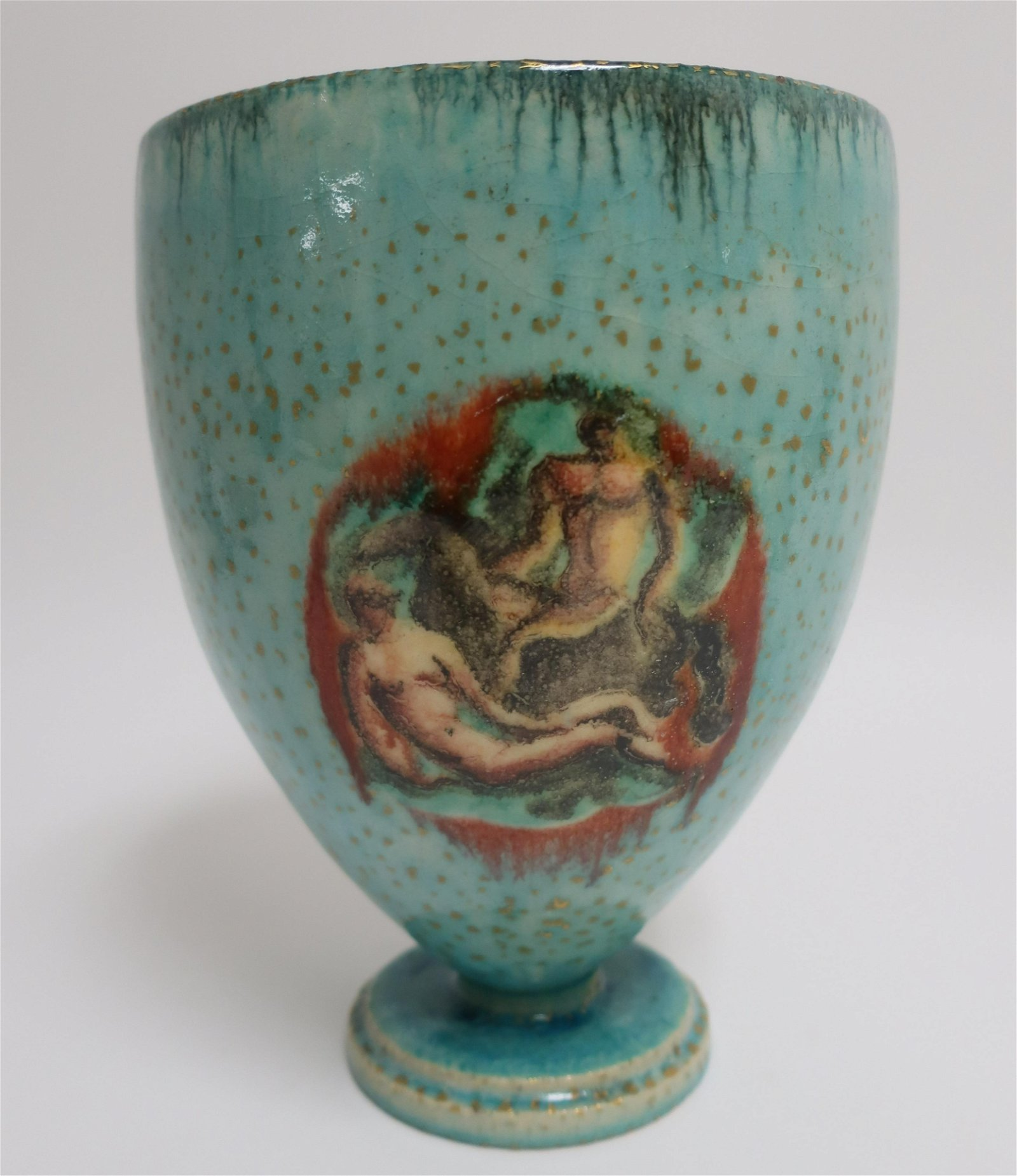 Art Deco Gilt Speckled Ground Ceramic Vase