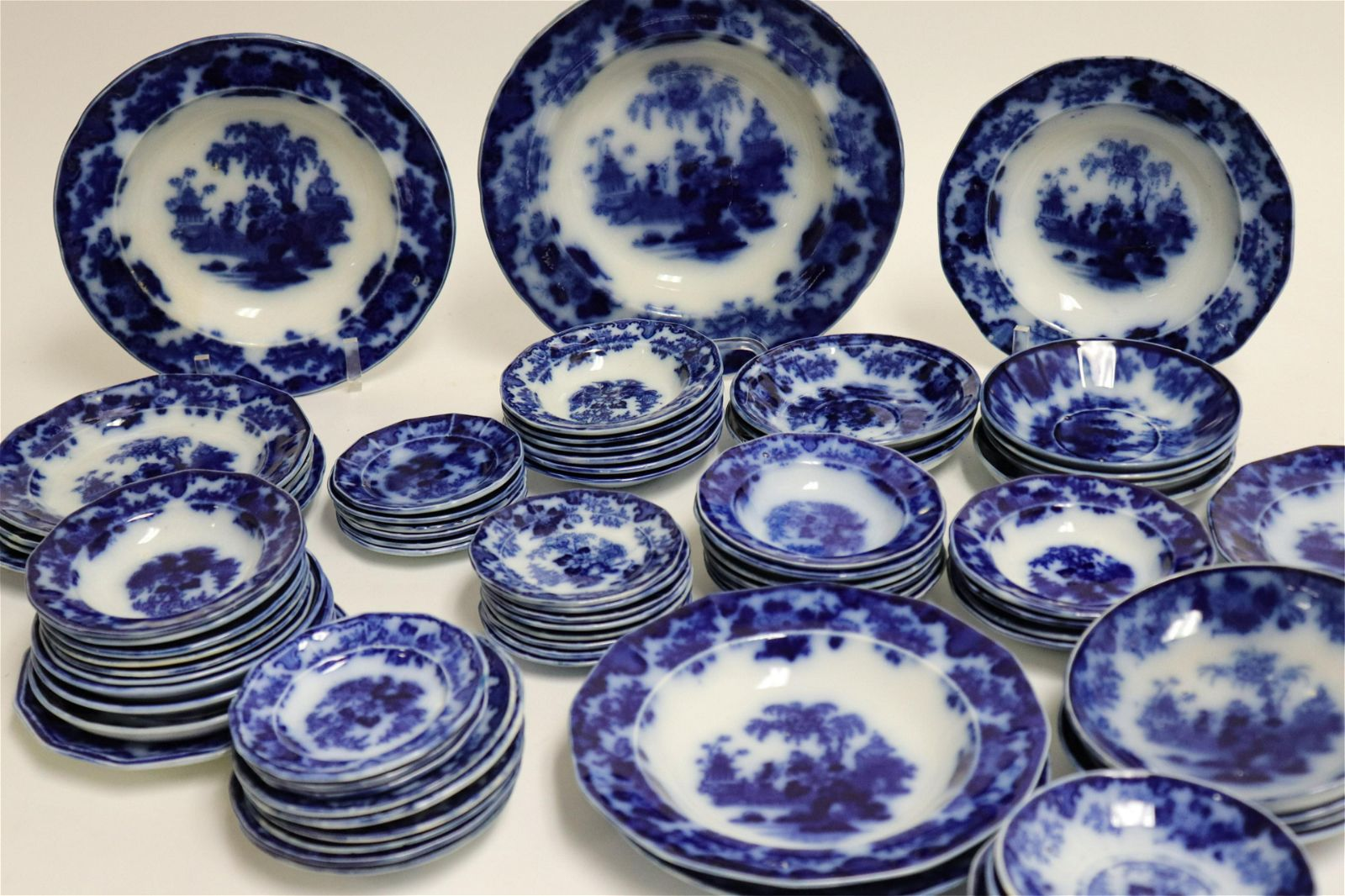 74 Flow Blue 'Scinde' Transferware Plates & Dishes