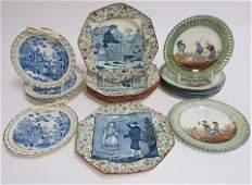 3 Sets English Ceramic Plates 19th  20th C