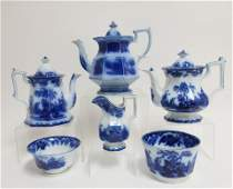 6 Flow Blue Scinde Transferware Teawares 19th C