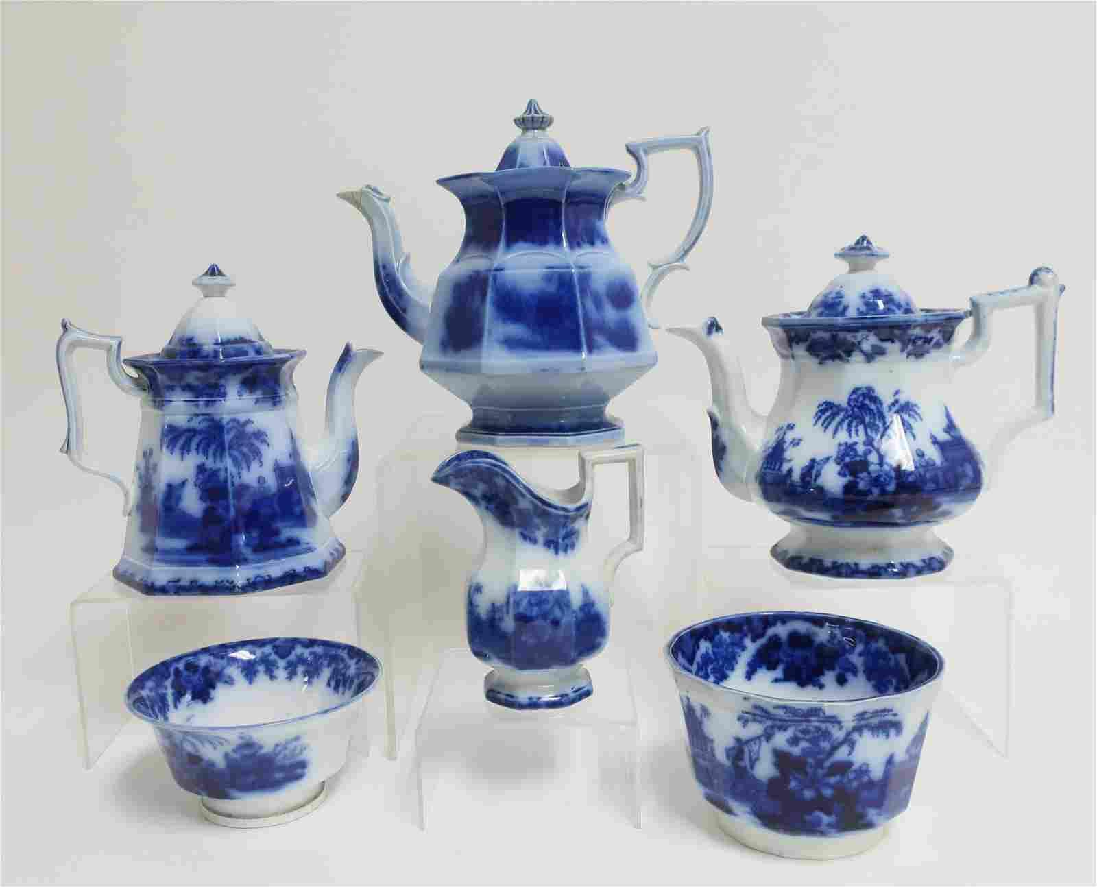 6 Flow Blue 'Scinde' Transferware Teawares, 19th C