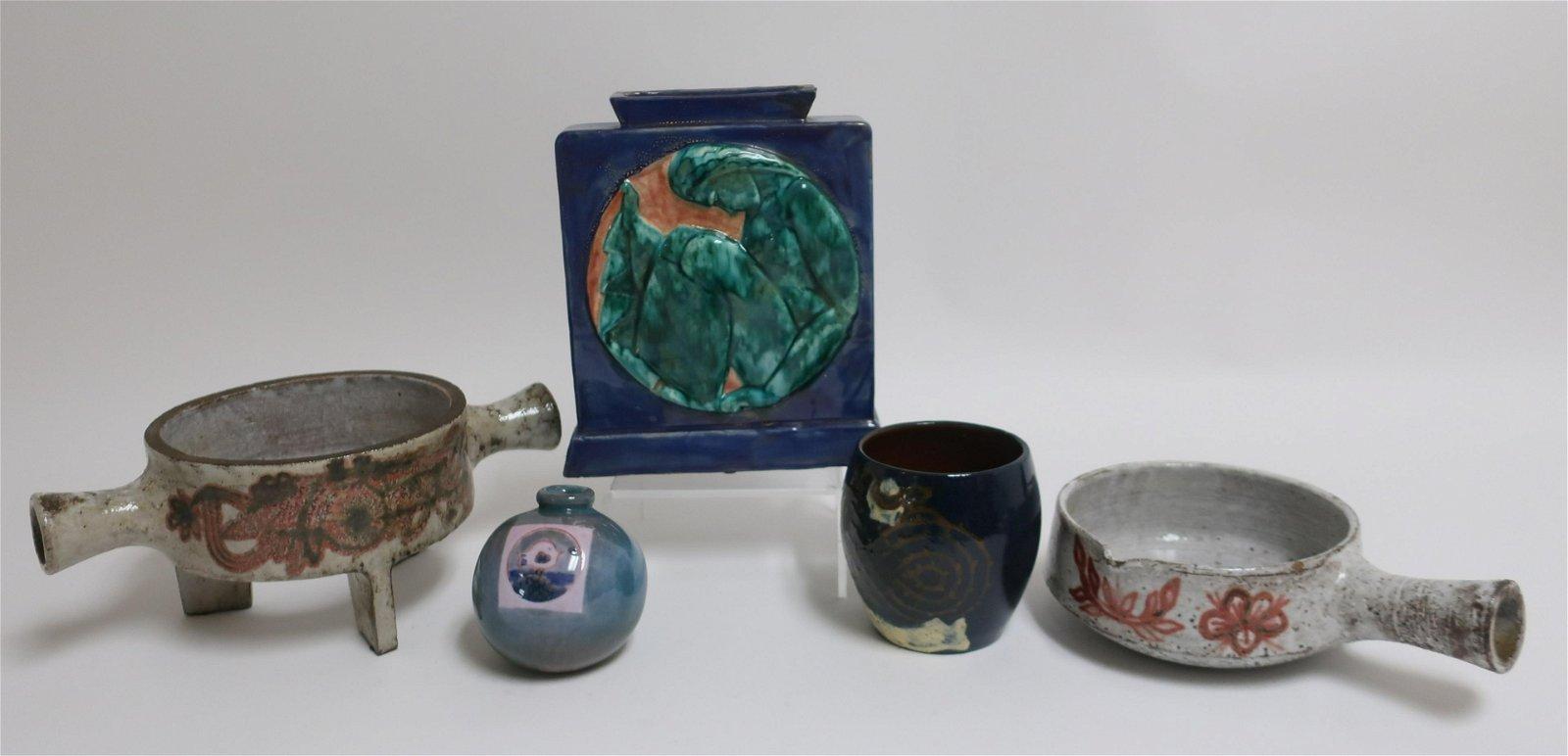 4 French Ceramic Vases & Jean Derval Fondue Pot