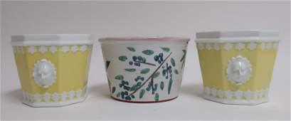 Pair Octagonal Yellow Pottery Cache Pots