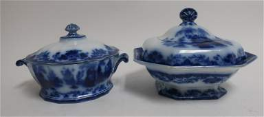 2 Flow Blue Scinde Transferware Dishes 19th C