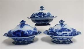 3 Flow Blue 'Scinde' Transferware Casserole Dishes